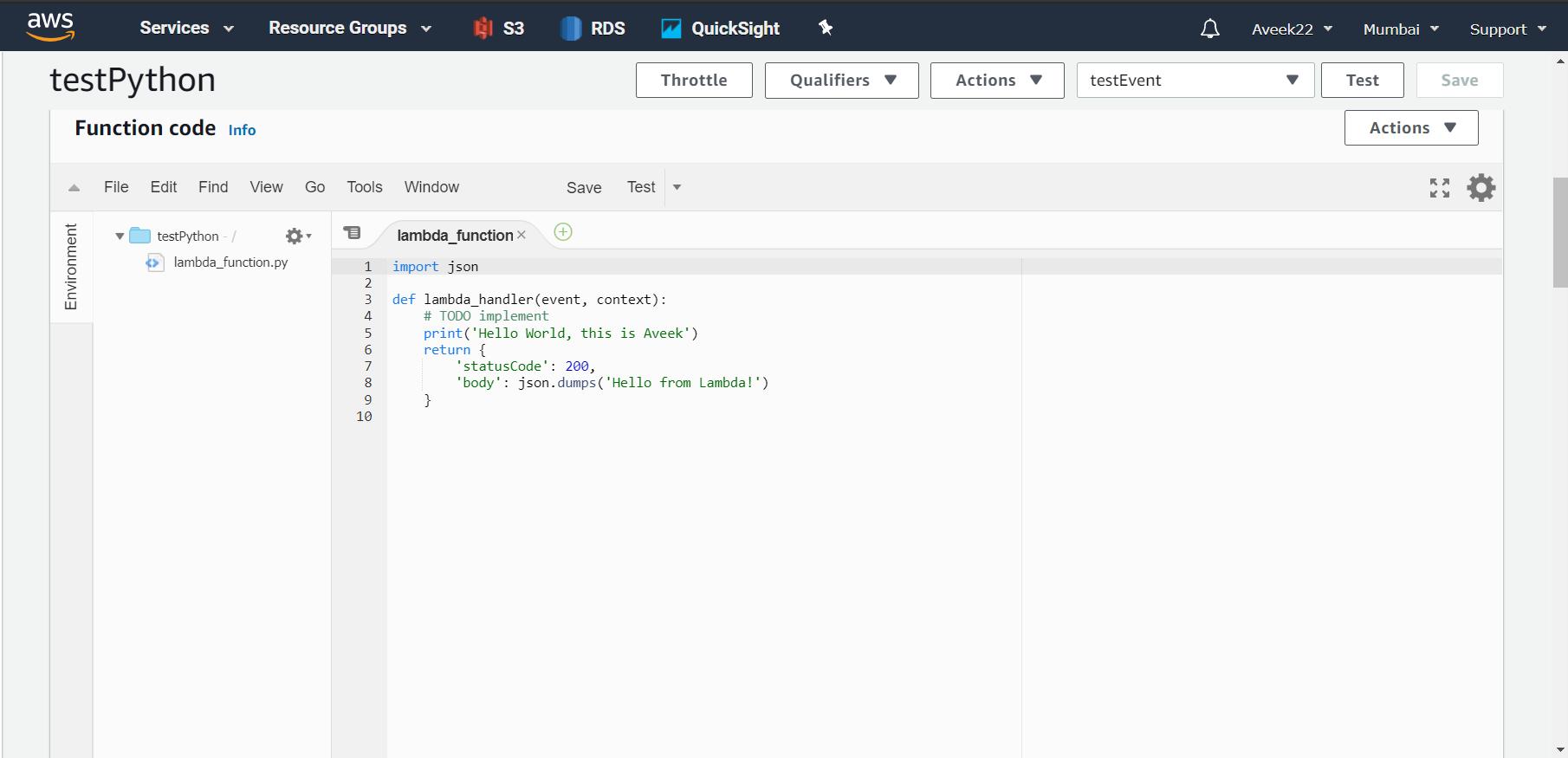 Writing code within the inline Code Editor (AWS Lambda)