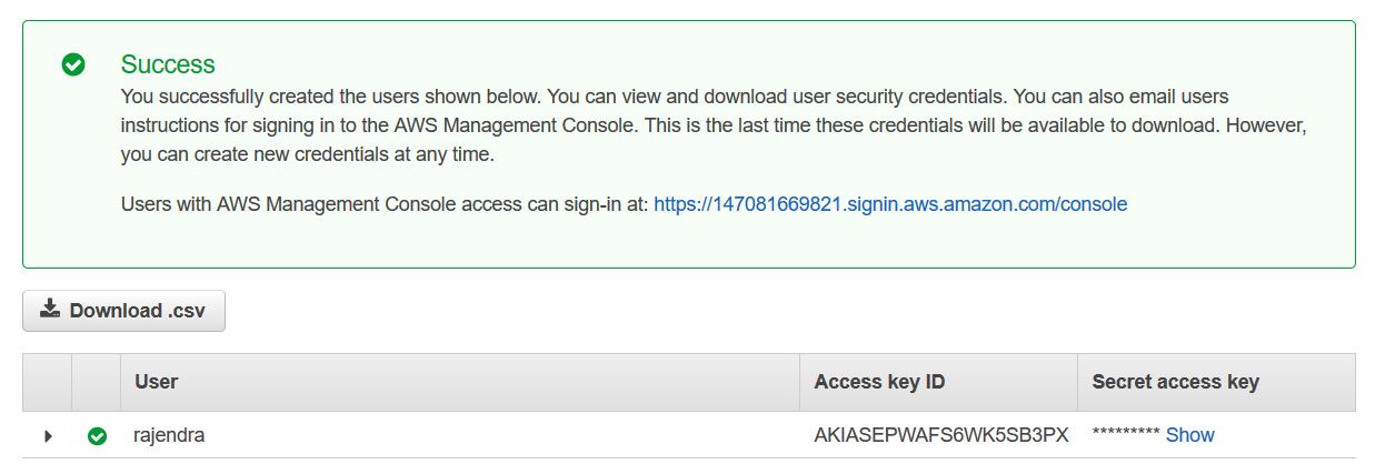 Access key, secret key