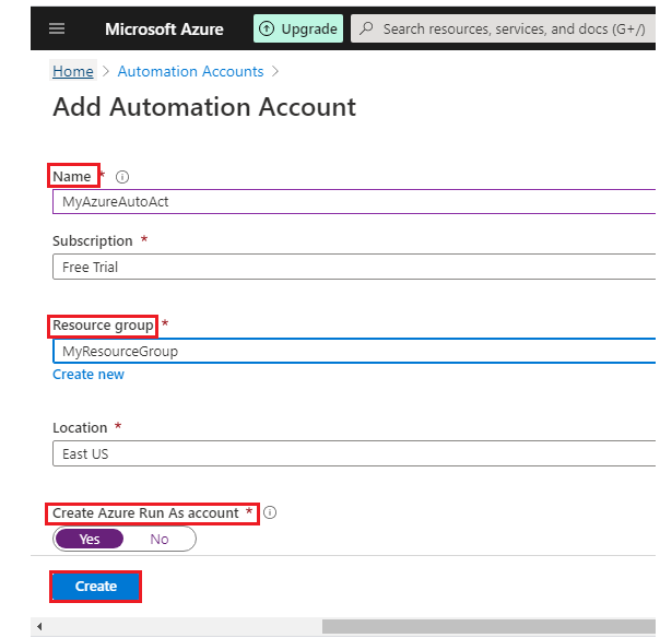 Add Automation Account parameters