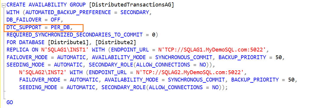 availability group configuration