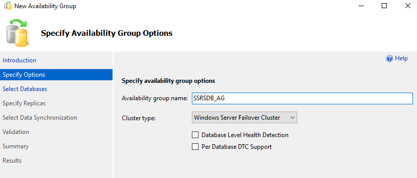 availability group wizard