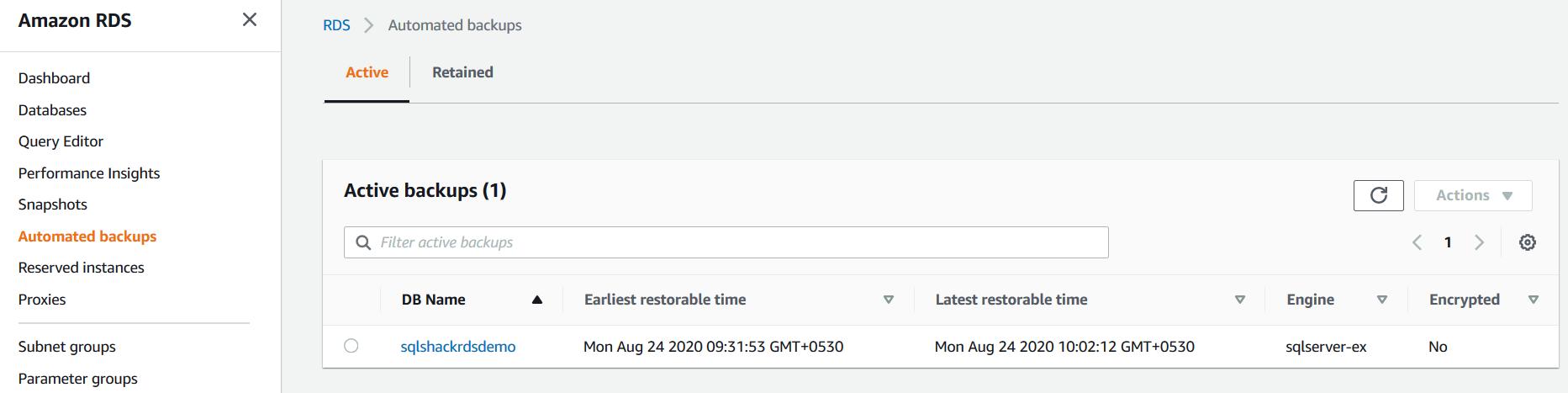 AWS RDS SQL Server dashboard