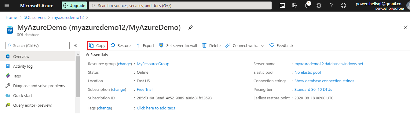 Azure SQL database copy database
