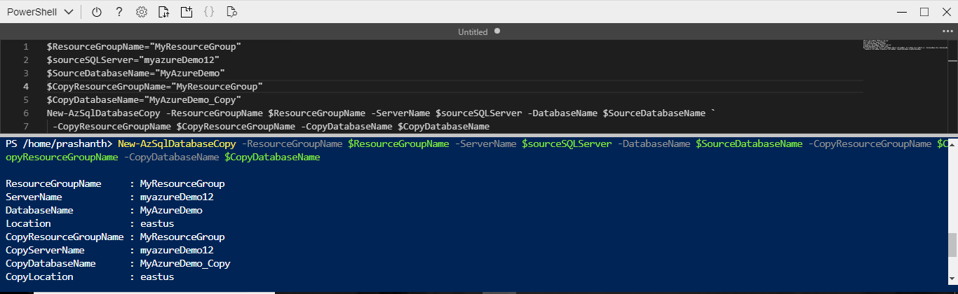 Azure SQL Database copy program using PowerShell screen