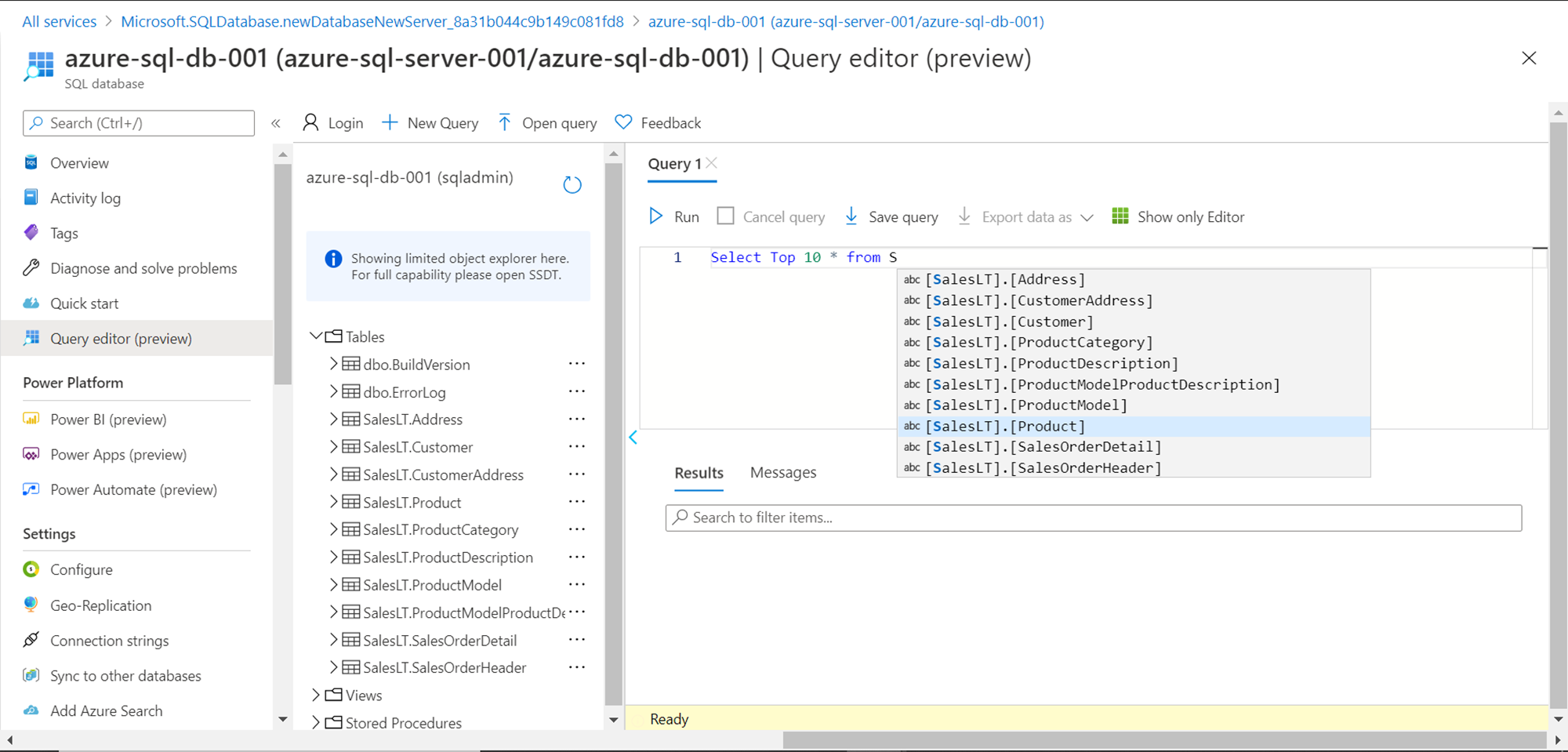 Azure SQL Server Database - Sample Data