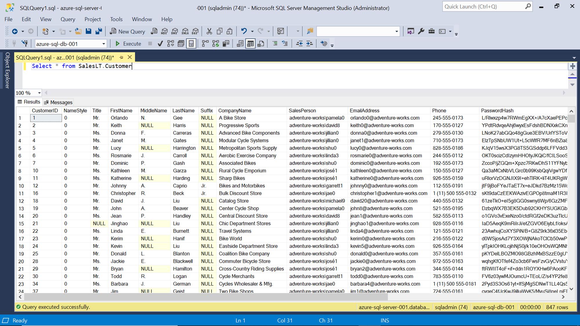 Azure SQL Server Database - SSMS