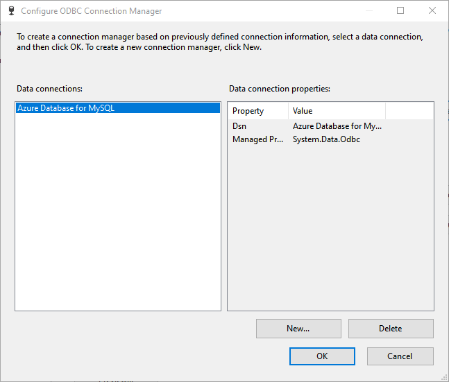 Configure ODBC connection manager