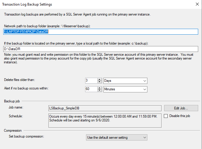 Configuring Primary database backup option in Log shipping for Data Disaster Recovery.