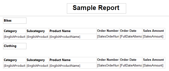 Configuring Report Header so that the report header will appear in every page.