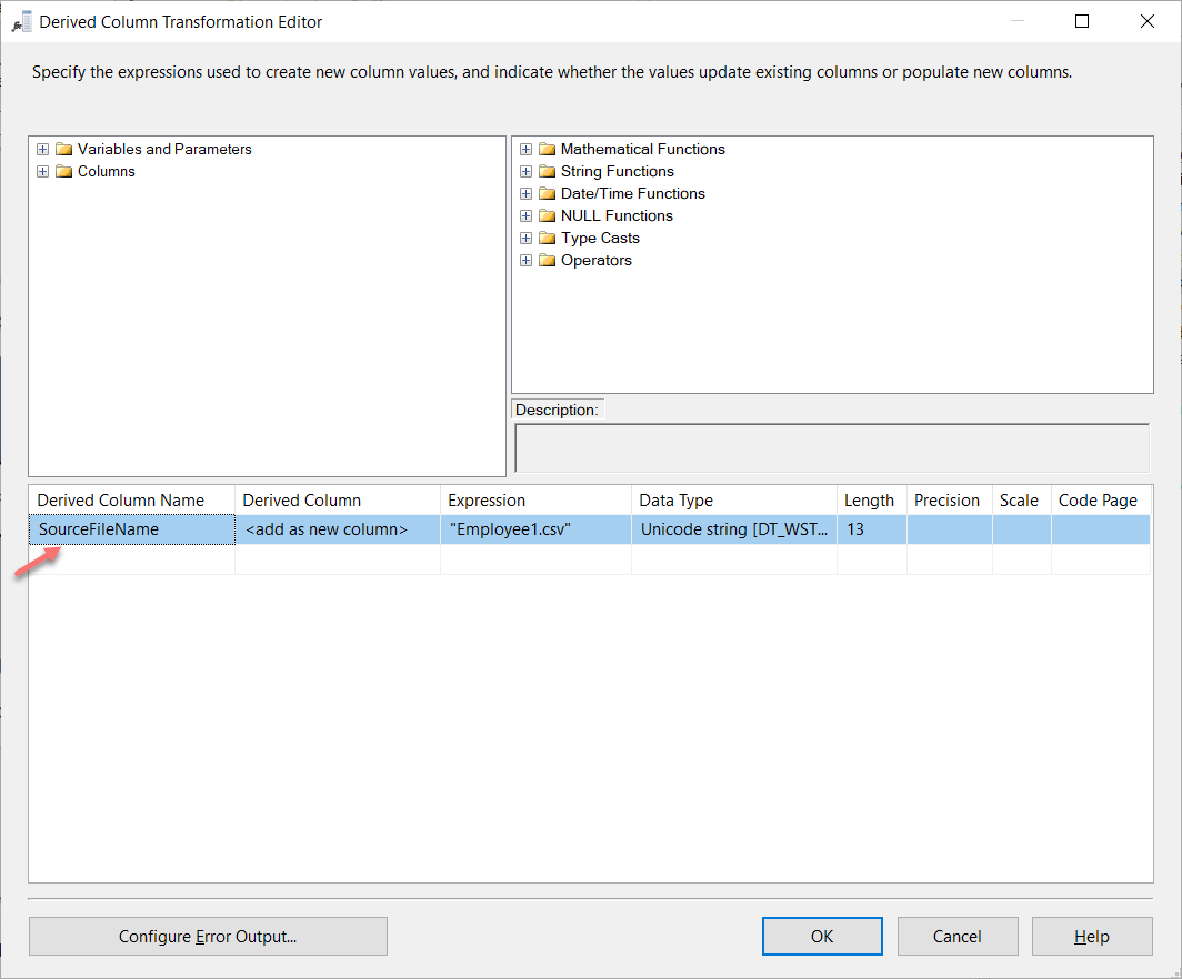 Configuring the derived column transformation for SSIS Data Lineage