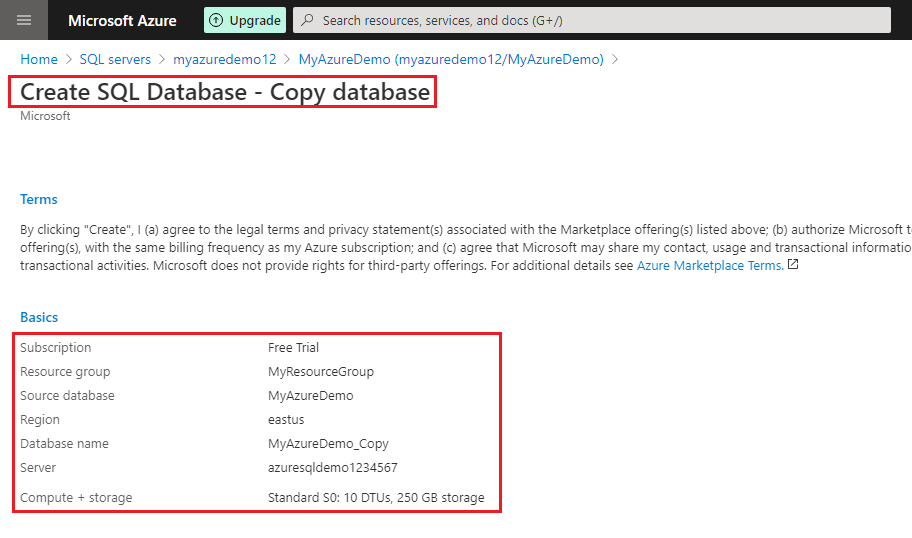Create SQL database summary page