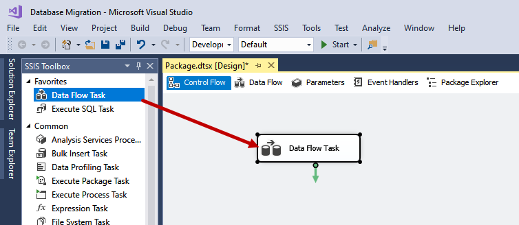 Drag and drop data flow task
