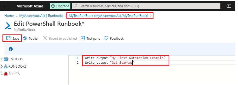 Edit the runbook PowerShell content
