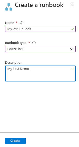 Enter the create runbook parameters