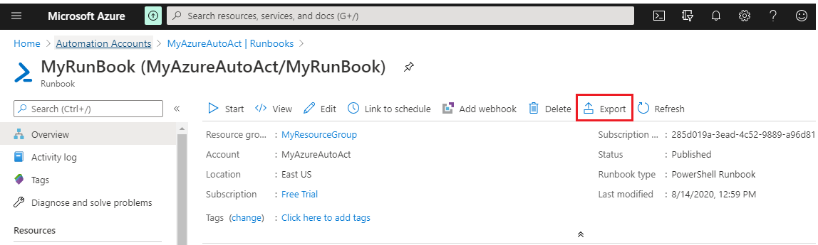 Export Automation Runbooks