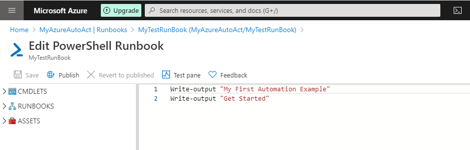 Get Automation test pane