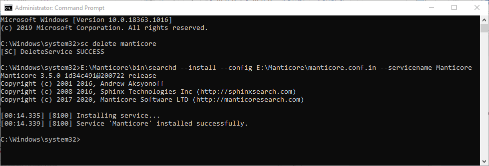 Installing searchd as a service