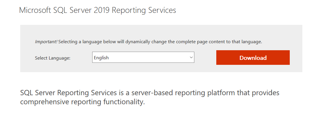 Microsoft SQL Server 2019 Reporting Services