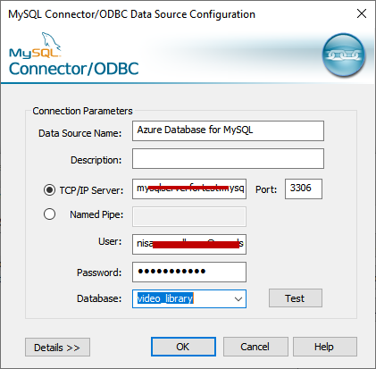 MySQL ODBC Data source  configuration
