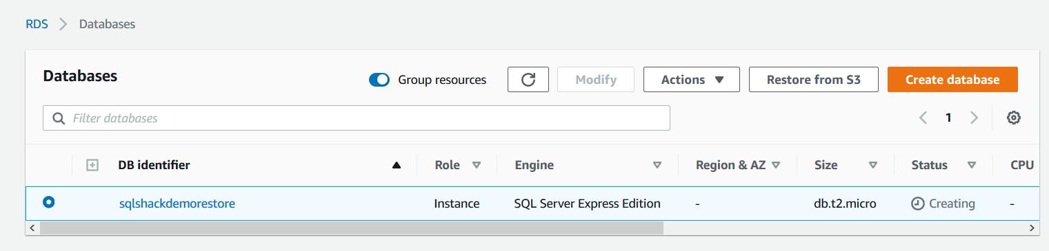 New AWS RDS SQL Server instance