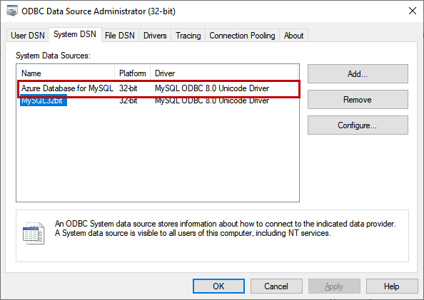 ODBC Driver is configured