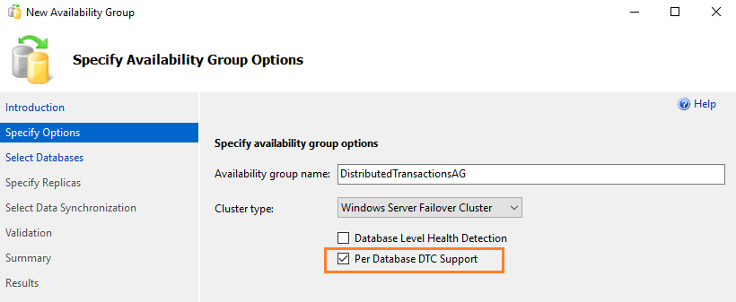 Per Database DTC support