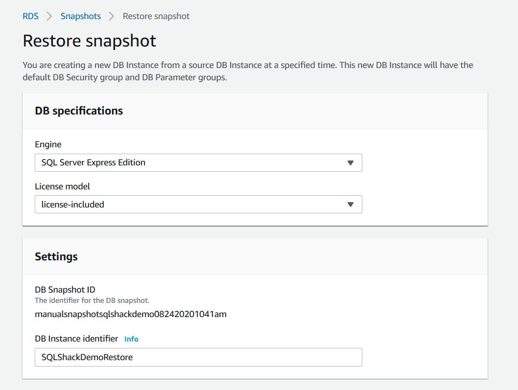 Restore snapshot configurations