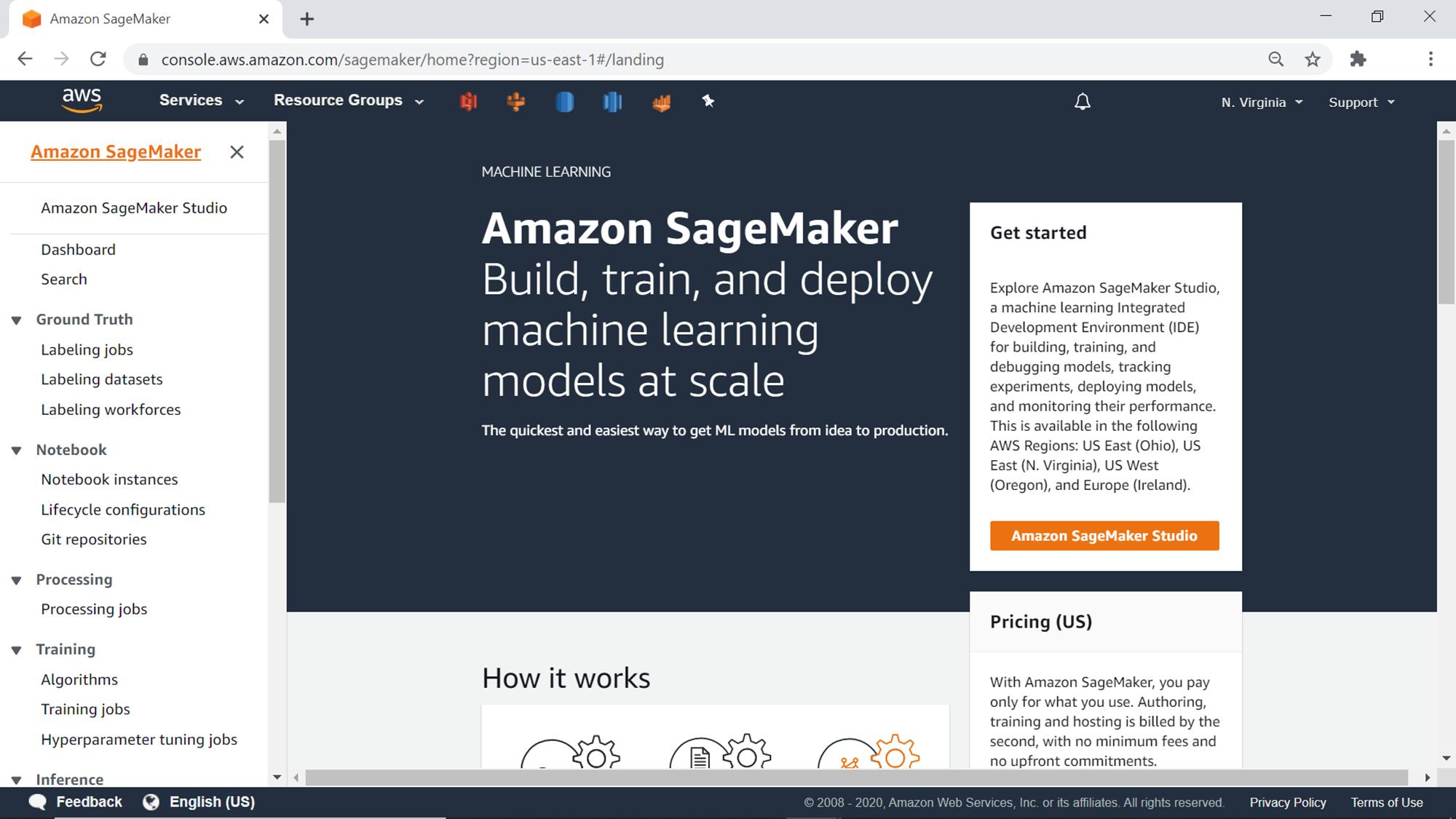 SageMaker Home Page