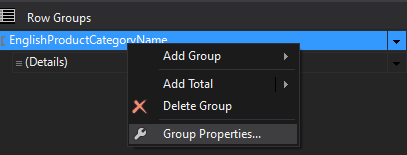 Selecting Group Properties.