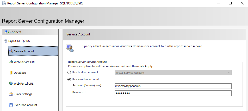 Service account configuration