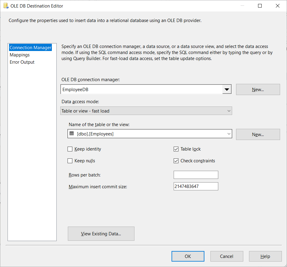 Setting up the OLE DB Destination Connection Manager