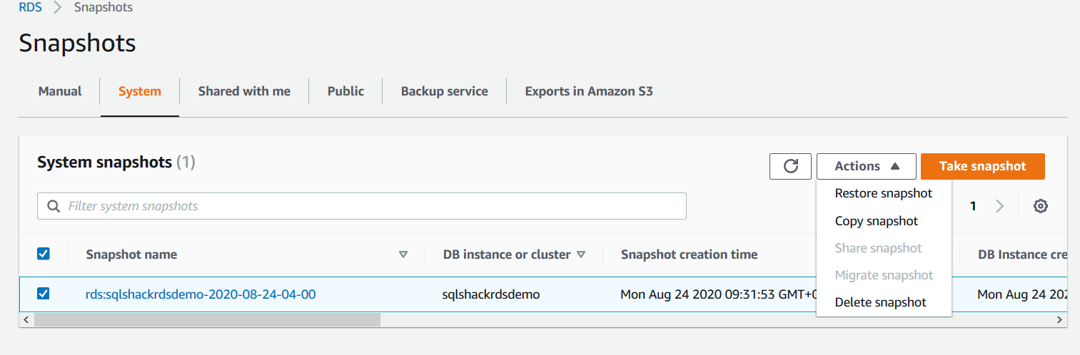 SQL Server manual snapshot