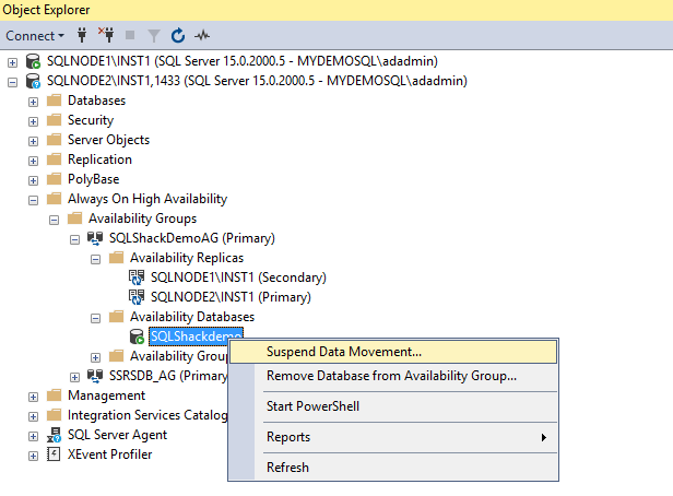 Suspend data movement in SQL Server Always On Availability Groups