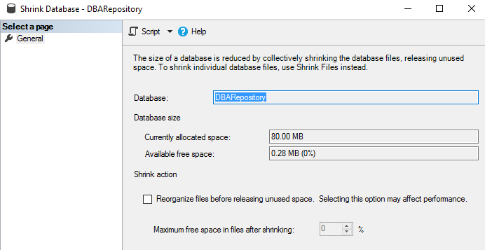 Take an uncompressed full database backup