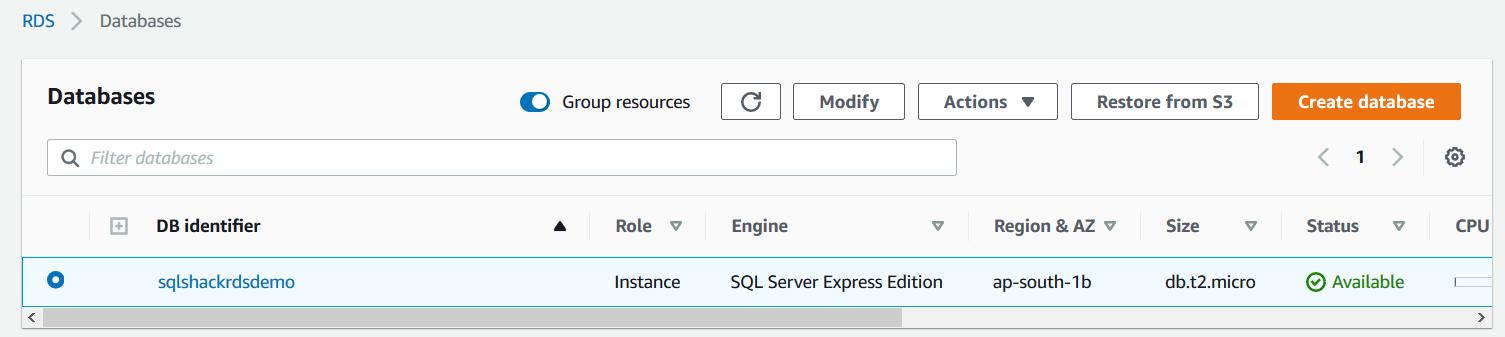 Take manual snapshot for the AWS RDS SQL Server