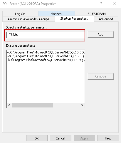 Ligue o sinalizador de rastreamento 3226 usando o parâmetro de inicialização