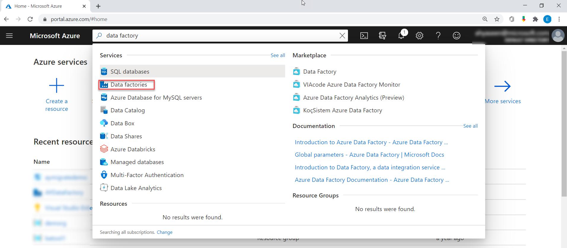Azure Portal Search