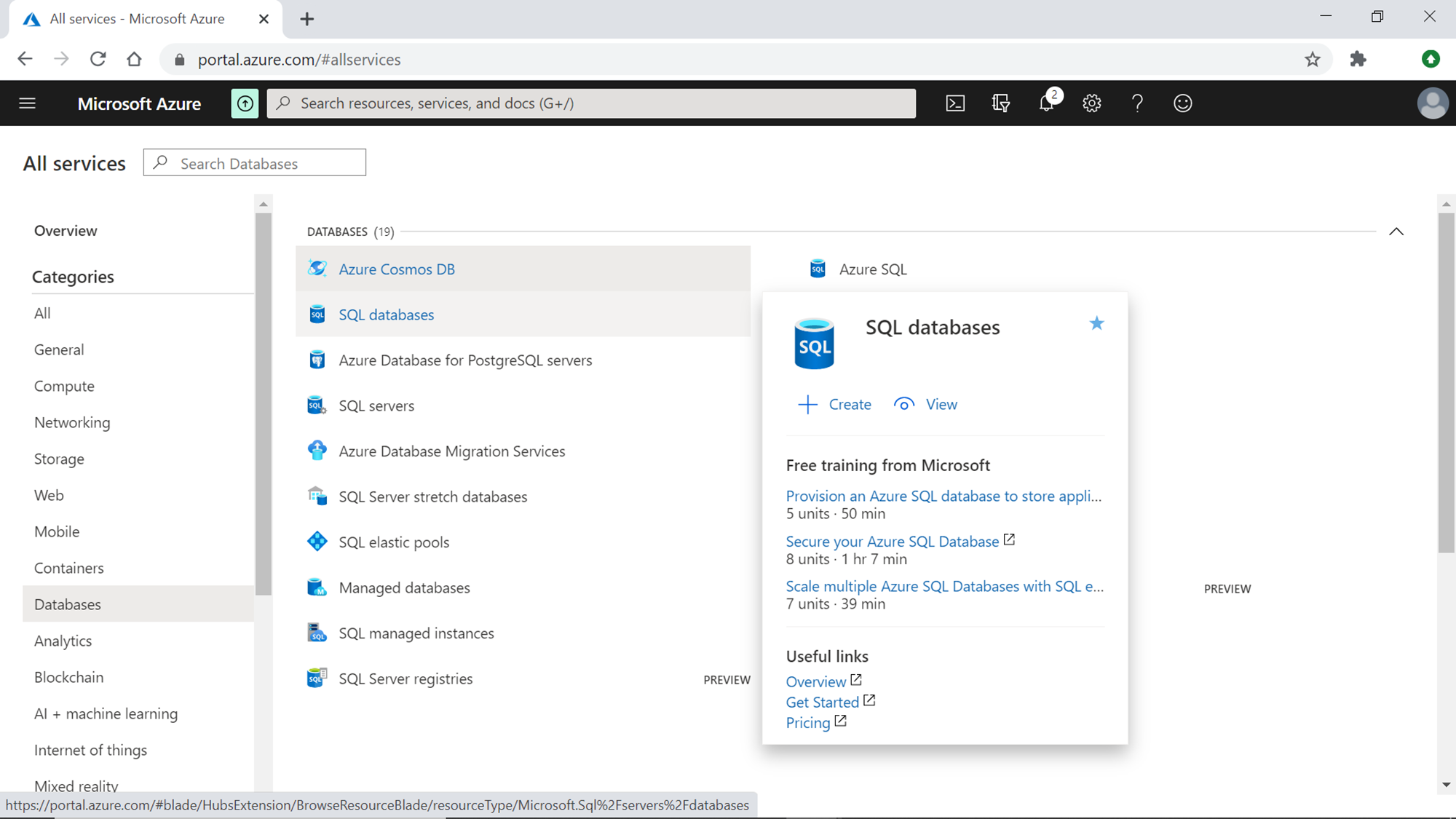 Azure SQL Server Database