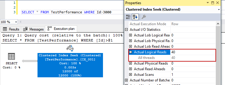Clustered index seek and logical read