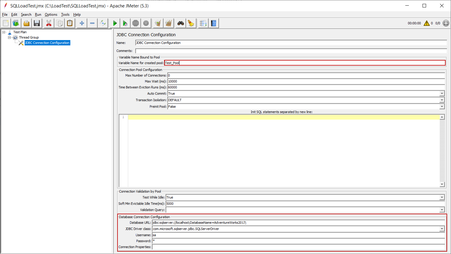 Configuring the JDBC Connection Configuration