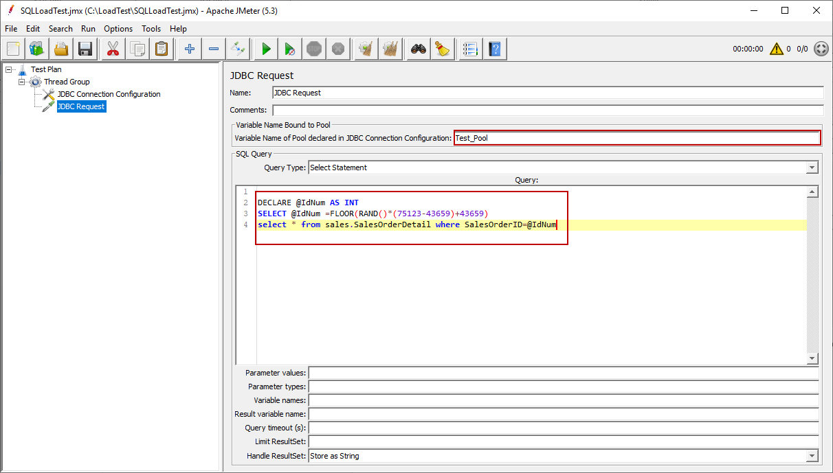 Create a query for JDBC Request