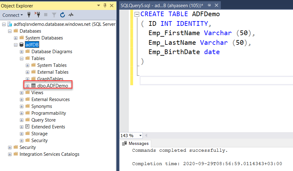 Create Azure SQL Database Table