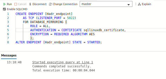 Create HADR endpoints