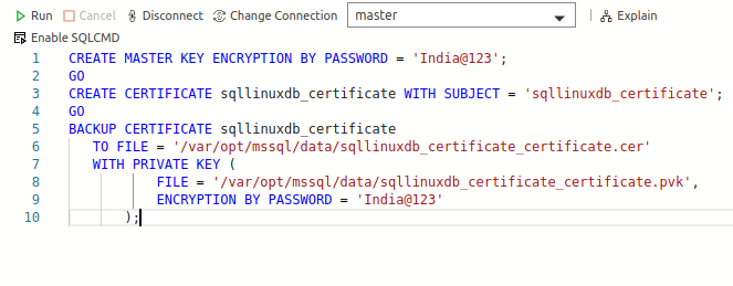 Create the Master key, Certificate and backup the Certificate on the primary replica