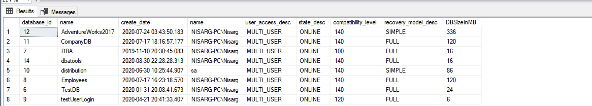 Database details query