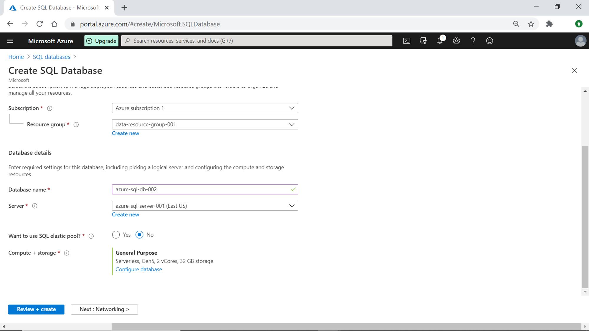Databasse Serverless Settings