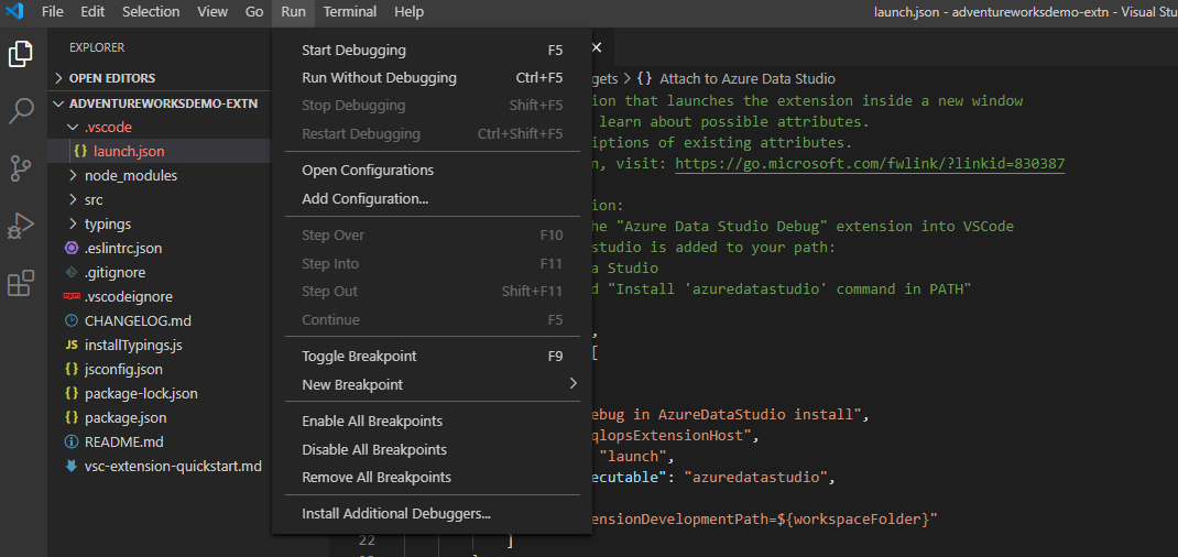 Debug the extension in VS Code