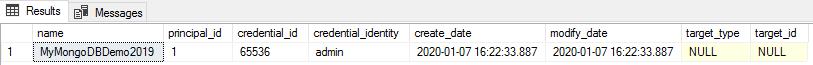 Display database scope credentials