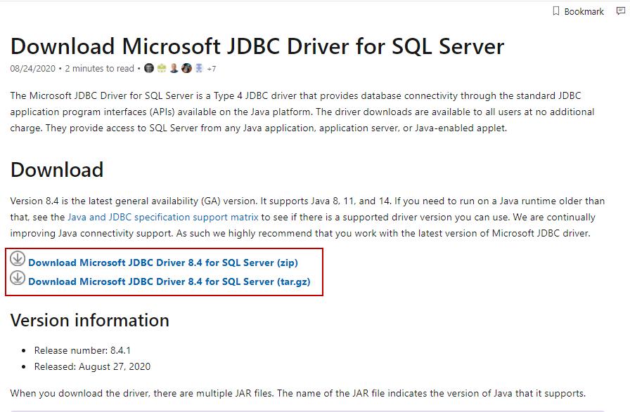 Download JDBC driver for SQL Server