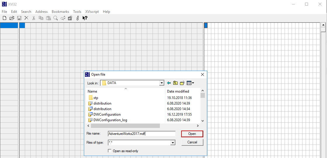 Editing data file of the SQL Server with hex editor